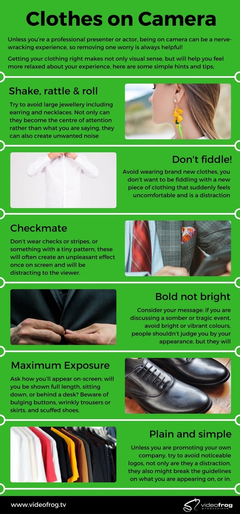 hints and tips for dressing and looking great on camera