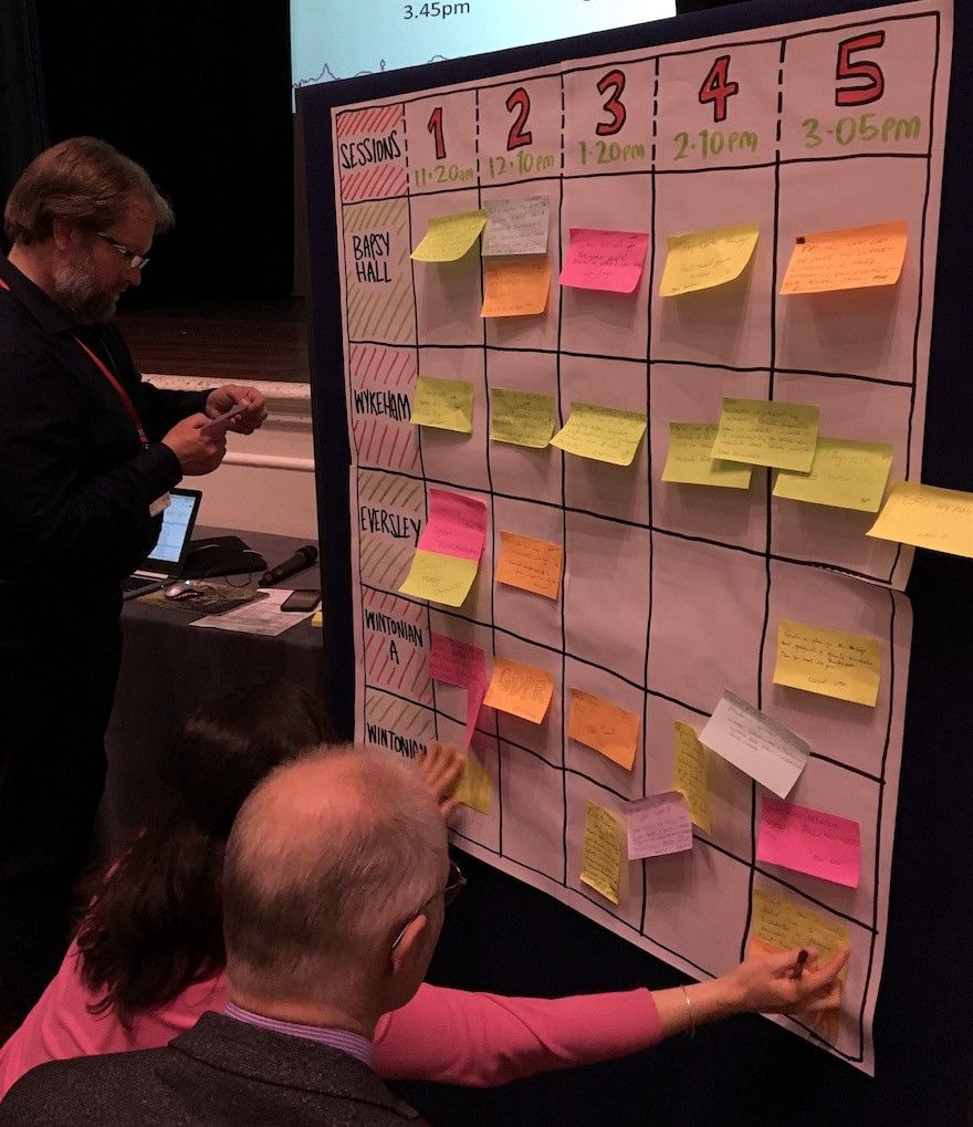 creating the session grid at WinchBiz unconference with Winchester City Council
