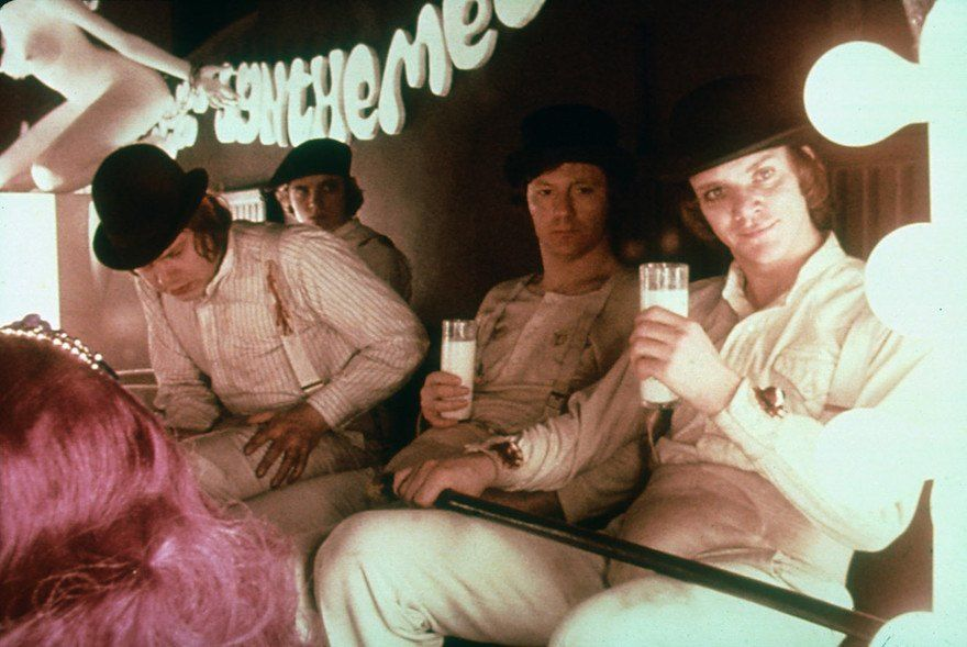 The Droogs drinking in the Milk Bar