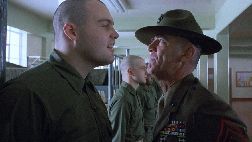 Pyle and Hartman in Full Metal Jacket