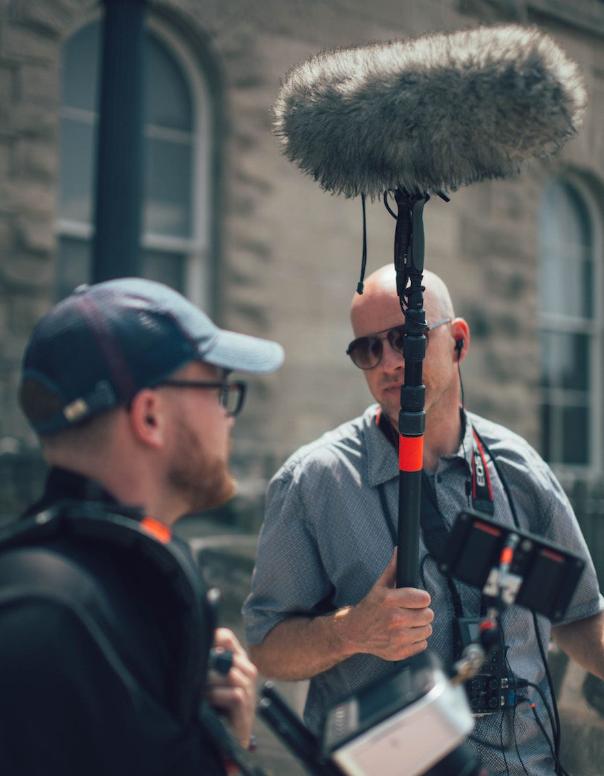 filming on location with boom microphone outside
