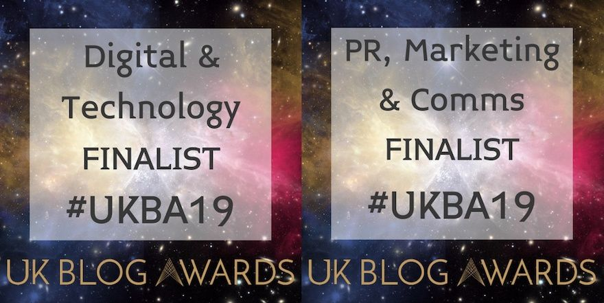 Finalist in two categories at UK Blog Awards 2019